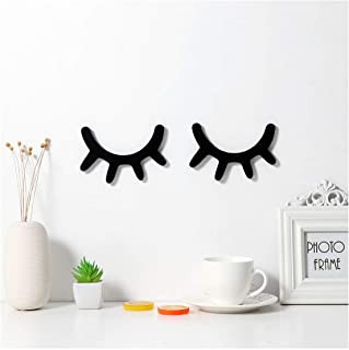 Sleepy Eyes Wall Decor, VORCOOL Eyelash Wall Decoration Wooden Eyelash Wall Stickers Wooden Decal Props for Christmas Decor Nursery Baby Room Kids' Bedroom Wall Art (Black)