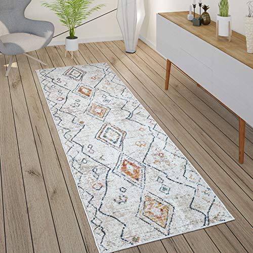 Tapis Salon Boho Ethnique Marocain Moderne Poils Ras Structuré Beige Coloré, Dimension:80x300 cm, Couleur:Crème 2
