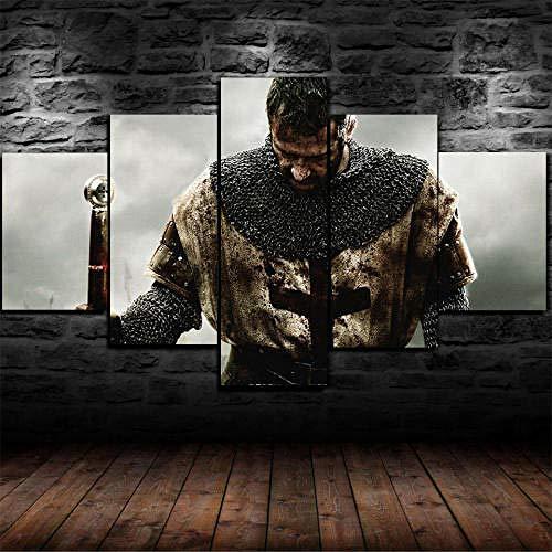 13Tdfc Cuadro En Lienzo 150X80Cm Enmarcado Caballero Medieval Armadura Guerrero Impresión De 5 Piezas Material Tejido No Tejido Impresión Artística Imagen Gráfica Decor Pared