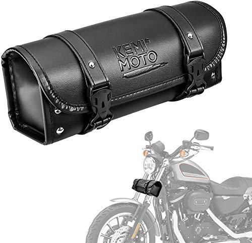 kemimoto バイク ツールバック 汎用 バイク フロントバック 工具入れ 小物入れ バイク用バック ツールポーチ ブラック (レザー)