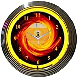 Neonetics Bar and Game Room Billiards 9 Ball Fire Neon Wall Clock, 15-Inch