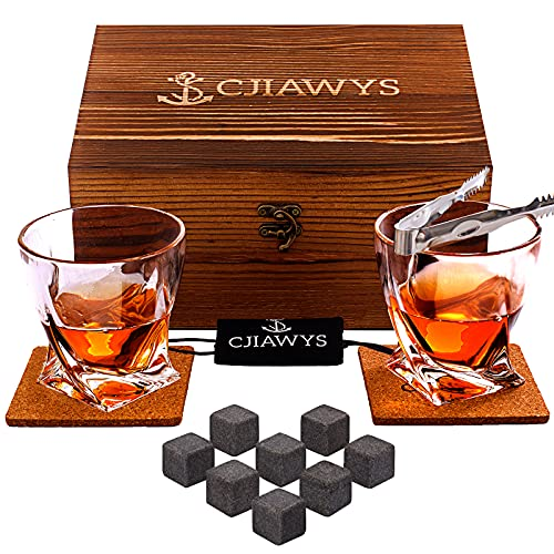 Whiskey Stones Gift Set, Birthday Gifts for Men Dad, Anniversary Gift for Him Husband Boyfriend Grandpa Brother, Unique Bourbon Scotch Whiskey Glass Set of 2 for Boss Wedding Friends