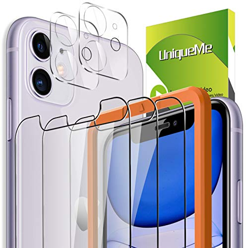 [3 Pack] UniqueMe Protector de Pantalla Compatible con iPhone 11 6.1 inch + [2 Pack] Protector de Lente de cámara, Vidrio Templado [9H Dureza] HD Film Cristal Templado