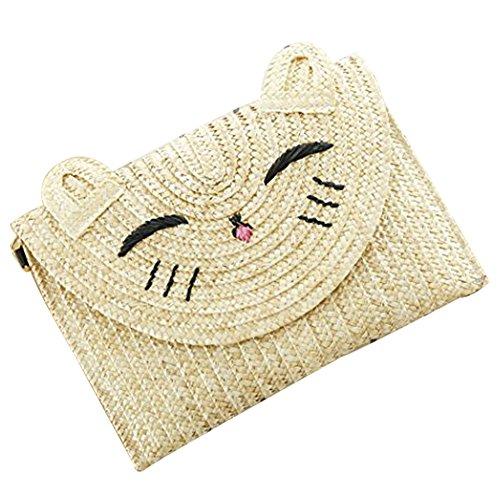 FAIRYSAN Damen Umhängetaschen Medium Katze Muster Cartoon Messenger Bag Party Clutch Strand Stroh Tasche