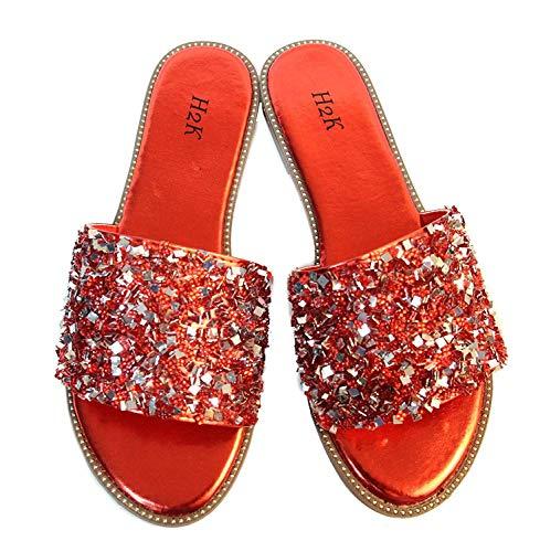 H2K Womens Glitter Bling Fancy Slide Flat Low Wedge Sparkle Sandals Shoes Dream, Red, 7-Jan