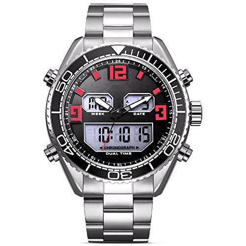 REYUAN Relojes del Reloj Digital for los Hombres, Deportes Reloj de Cuarzo Digital electrónica de LED Impermeable Militar Cronógrafo Fecha Reloj, Minimalista Relojes Correa de Acero (Color : A)