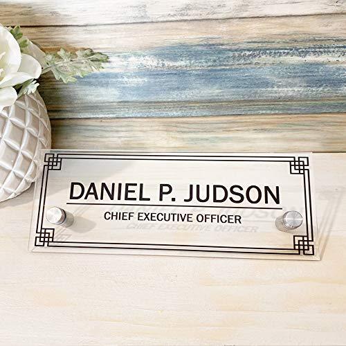 "Personalized Desk nameplate Desk Decor Door Holder Office Supply Acrylic Sign Coworker Gift Teacher Secretary - Men Gift Sign Holder (8""x3"")"