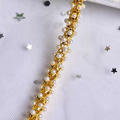 10 meter parel kralen gouden zilveren ketting strass kant trim diy naaien kleding trouwjurk rok hals haaraccessoires, goud, l