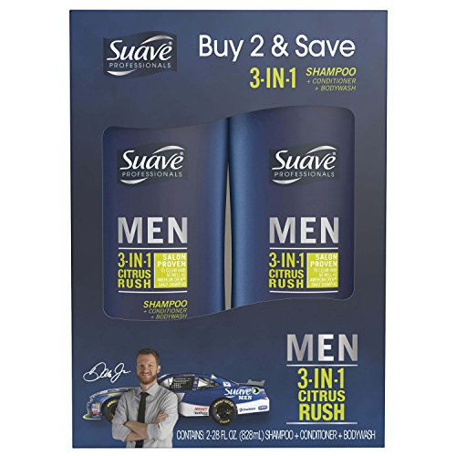 Suave Men 3 in 1 Shampoo Conditioner Body Wash, Citrus Rush, 28 oz, 2 count