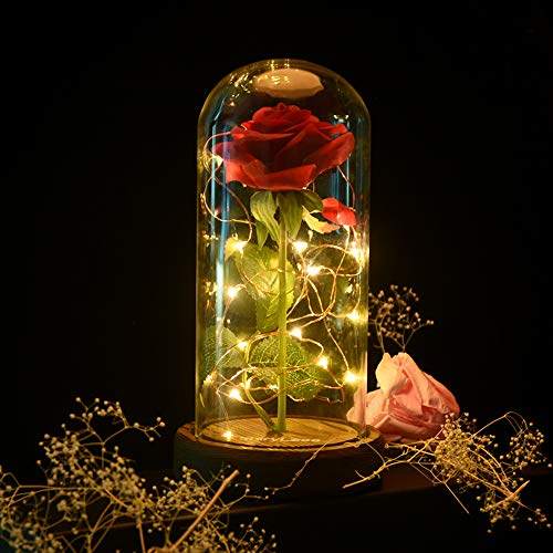shirylzee Beauty and The Beast Rose, Enchanted Rose Red Silk Rose in Glass Dome with LED Lights Pine Base, Romantic Home Decor Gifts for Mother's Day Wedding Anniversary Birthday Valentine's day