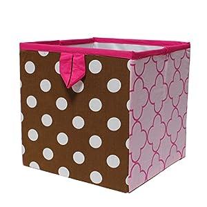 Bacati Butterflies/Ladybugs Storage Box, Pink/Chocolate, Small