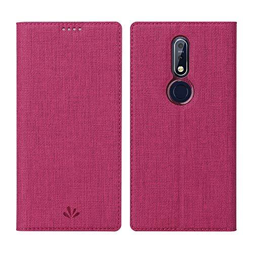 DDJ Nokia 7.1 Hülle,Leder Tasche Flip klappbares Hülle Cover Standfunktion Kartenfach Magnetverschluß Card Holder kristallklarer TPU Stoßstange Wallet Schutzhülle Handyhülle für Nokia 7.1 (Rose)