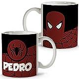 Taza Superhéroes Personalizada con Nombre. Regalo Friki. Varios Diseños y Colores Interior. Spiderman