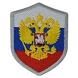 benobler FanShirts4u Aufnäher - Russland - Wappen - 7 x 5,6cm - Bestickt Flagge Patch Badge Fahne Russia (Silberne Umrandung)