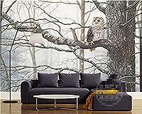 Mhshm 3D 壁画壁紙 かわいい動物のフクロウ リビングルームとベッドルームの壁画の家の壁の装飾 3D テレビの背景の壁-200cmx140cm