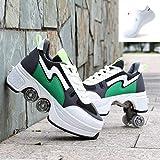 ZCXBHD Botas De Patines De Cuatro Ruedas con Ruedas Ajustables Zapatos Multiusos 2 En 1 Zapatos para Caminar Adecuados para Patinar Fiestas Niños Adultos,Green-40