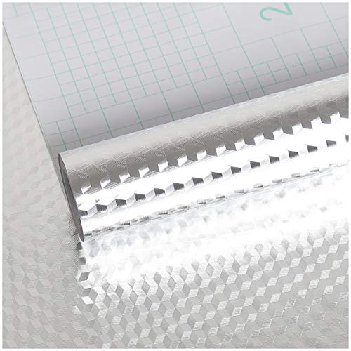 VEELIKE Aluminio Papel Pintado Papel Pared Aluminio Cocina Autoadhesivo Papel de Pared Vinilo Efecto Acero Inoxidable Impermeable a Prueba Aceite para Muebles Proyecto de Bricolaje 40cm x 300cm