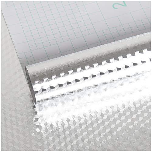 VEELIKE Lamiera Effetto Alluminio Fogli Effetto di Alluminio Rotolo di Carta da Parati Alluminio Top Cucina Laminato Pellicola Protettiva Autoadesiva Pellicole Adesive per Mobili 40cm x 300cm