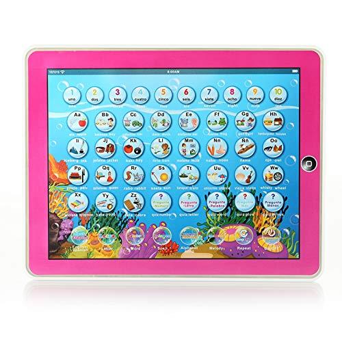 NA Kinder Englisch Russisch Spanisch Lernen Tablet Computer für Arten Pädagogisches Spielzeug Lernmaschine Tischspielzeug mit Musik Licht rot Englisch Spanisch
