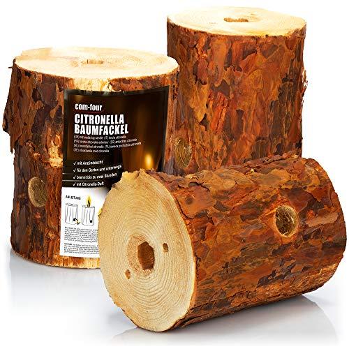 com-four® 3X feu suédois avec mèche d'allumage et Parfum de citronnelle, Torche finlandaise pour la Romance de feu de Camp, Torche d'arbre, Torche de Jardin avec Parfum