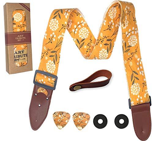 Gitarrengurt Baumwolle Gelb Frühlingsblüten inkl. 2 Plektren + Gurtschlösser + Gurtknopf Für Bass, E- und Akustikgitarren Ein tolles Geschenk für Damen und Herren