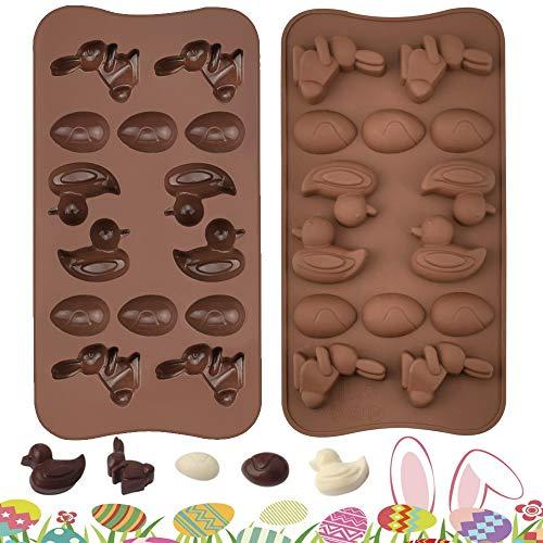 WANTOUTH 2 Pezzi Stampi per Cioccolato in Silicone Stampo Uovo di Pasqua Stampi Cioccolatini Coniglio Stampo per Cioccolato D'anatra Stampini per Cioccolatini Fai Da Te per Cioccolato e Pudding