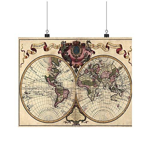 1965 Double World Map, World Map High Resolution Art A0 A1 A2 A3 A4 Poster de fotos satinado p11666h