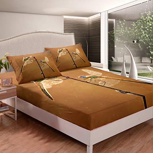 Juego de cama de libélula ornamental juego de sábanas para niños y niñas con purpurina y insectos voladores de animales, sábana bajera botánica, 2 unidades, tamaño individual