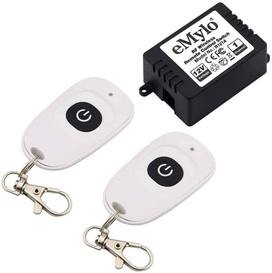 eMylo Wireless Relay DC 12V Un canal de interruptor de control remoto inteligente RF 433Mhz con dos transmisores