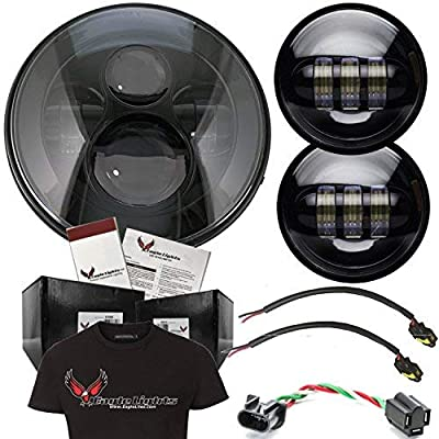 "Eagle Lights 8700 Harley Daymaker 7"" Round LED Headlight with Matching Passing Lamps and Free T-Shirt for Harley Davidson Motorcycles"