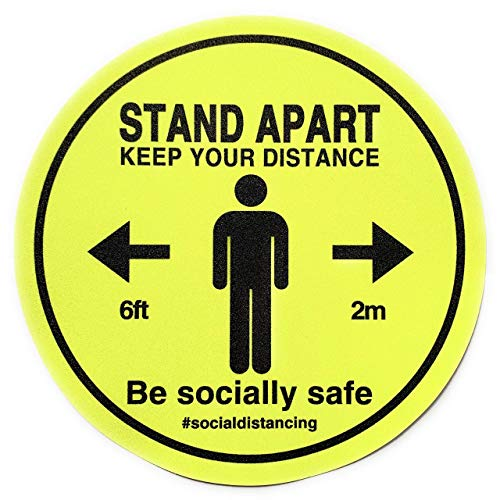 Adesivo in vinile per pavimenti, rimovibile, antiscivolo, autoadesivo, con scritta 'Keep Your Distance Sign' (Keep Your Distance Sign) 220 mm x 220 mm