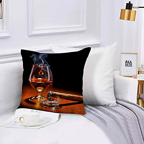 Lilatomer Funda de algodón 45 x 45 cm Vino Fino Cigarro Whisky Cigarrillo Encendido Copa De Vino Sofá Throw Cojín Almohada Caso de la Cubierta para Sala de Estar 45x45cm
