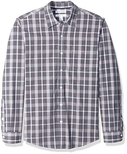 Amazon Essentials - Camisa informal de popelín de manga larga de corte entallado para hombre, carbón a cuadros, US S (EU S)