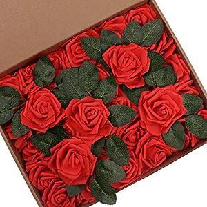 Hiveseen 30 Piezas Rosas Artificiales, Flores Artificiales Rosa Espuma Mirada Real con Hojas y Tallos Ajustable para…