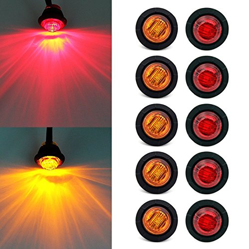 Purishion 10x 3/4 Round LED Clearence Light Front Rear Side Marker Indicators Light for Truck Car Bus Trailer Van Caravan Boat, Taillight Brake Stop Lamp (12V, Red+Amber)
