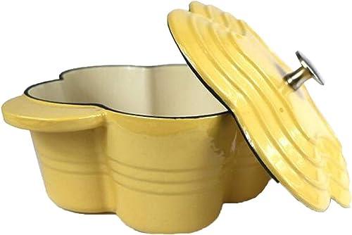 Céramique à Fleur en Pot en céramique antiadhésive, à Soupe épaisse, cuiseur à Induction, Jaune Universel