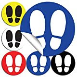 Señal adhesiva huella azul para suelo | Separadores para colas de comercios | Pack de 4 unidades de 19 cm (Azul)