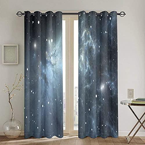 遮光遮熱カーテン,星雲と星のある無限航路ユニバーサルエネルギー宇宙論 寝室 カーテンセット カーテン おしゃれ 断熱 防音 カーテン 高級感のある生地 リビングルーム,2枚組 130 x 180CM