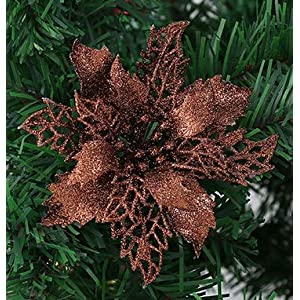 24pcs christmas dark brown glitter mesh holly leaf artificial poinsettia flowers picks tree ornaments 6.3″w for dark brown christmas tree wreath garland floral gift winter wedding holiday decor