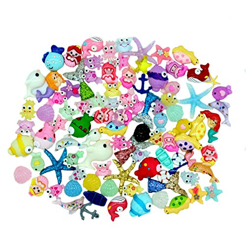 Slime Charms Cute Set Mixed Mermaid Tail,Unicorn,Ducks and Animals,Resin Flatback Slime Beads for Kids and Adults Craft Making,Ornament Scrapbook DIY Crafts?100pcs?