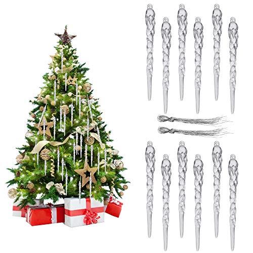 TANCUDER 30 Stück Weihnachten Eiszapfen Transparente Eiszapfen Christbaum Eiszapfen Deko Weihnachten Eiszapfen Ornamente Acryl Eiszapfen Anhänger mit Seil für Hochzeiten, Weihnachten (13 * 1.2cm)
