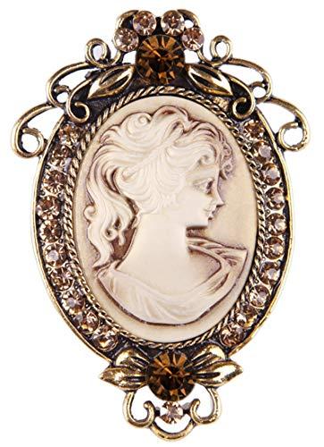 Gyn&Joy Vintage Style Cameo Victorian Lady Maiden Crystal Rhinestone Pin Brooch ¡ 3