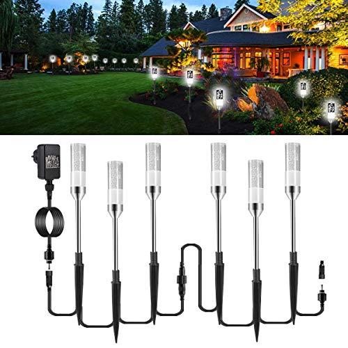 Gartenbeleuchtung ECOWHO 6er Kaltweiß LED Gartenleuchten mit Erdspieß Kabel, IP65 wasserdicht Gartenlampen mit Strom erweiterbar Luftblase LED Gartenstrahler für außen Garten Teich Weg Hof Rasen