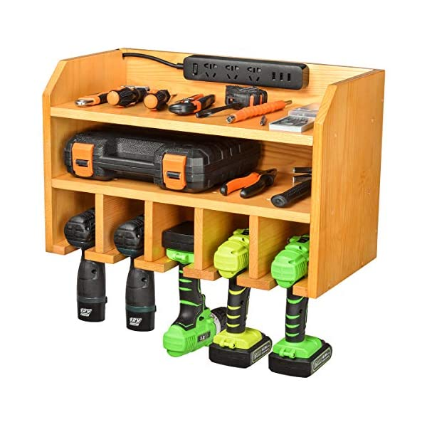 Drill Charging Station | Drill Storage | Wall Mounted Tool Storage Organizer | Power Tool Storage – Power Drill Toolbox Screwdriver Cordless Drill Organizer – Tool, Parts Craft Organizer Wooden