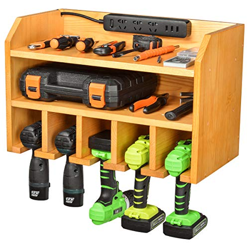 Drill Charging Station | Drill Storage | Wall Mounted Tool Storage Organizer | Power Tool Storage  Power Drill Toolbox Screwdriver Cordless Drill Organizer  Tool Parts Craft Organizer Wooden