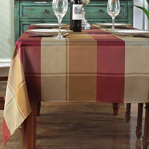 "Rectangle Tablecloth Checkered Style Polyester Table Cloth Spillproof Dust-Proof Wrinkle Resistant Heavy Weight Table Cover for Kitchen Dinning Tabletop (Rectangle/Oblong, 52"" x 70"" (4-6 Seats), Red)"