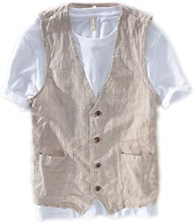 Lazutom Men's Summer Casual Cotton Linen Sleeveless Thin Vest Beach Waistcoat