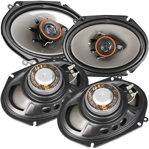 Two Pair of Alphasonik AS68 6x8 inch 350 Watts Max 3-Way Car Audio Full Range Coaxial Speakers with Universal Mounting Holes for Easy Installation