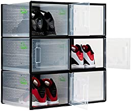SHOEPREEM Black Large - Long - Shoe Boxes Clear Plastic Stackable, 6 pack- Shoe Box Storage Containers for Organizing Sneaker - Clear Container Organizers for Shoes - Sneaker Organizer Boot & Shoe box
