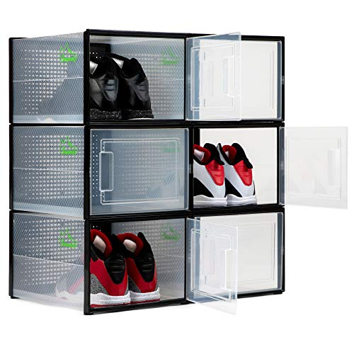SHOEPREEM BLACK XL - LONG - SHOE BOXES CLEAR PLASTIC STACKABLE 6 팩 - SNEAKER 조직을 위한 SHOE BOX 저장 용기 - 신발용 CLEAR CONTAINER ORGANIZERS - SNEAKER ORGANIZER BOOT & SHOE BOX
